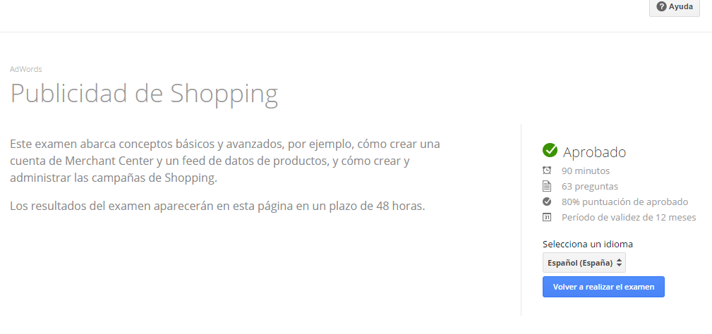 examen de google shopping