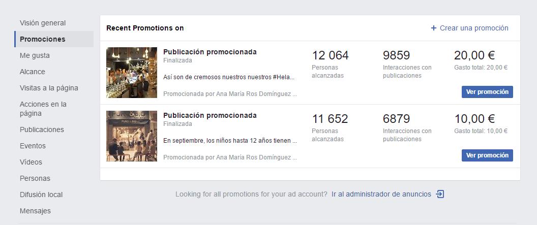nueva actualización facebook insights seccion promociones