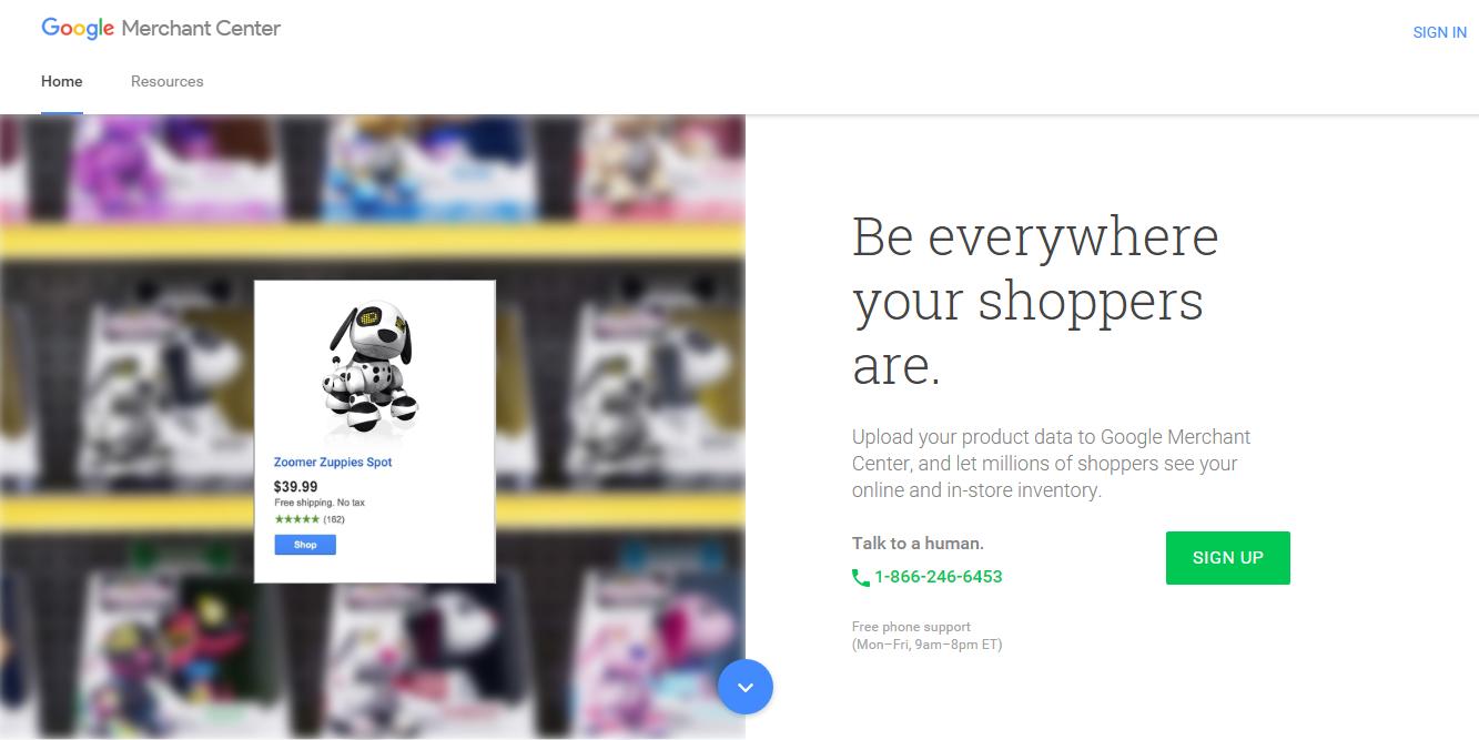 Crear una cuenta en Google Merchant Center