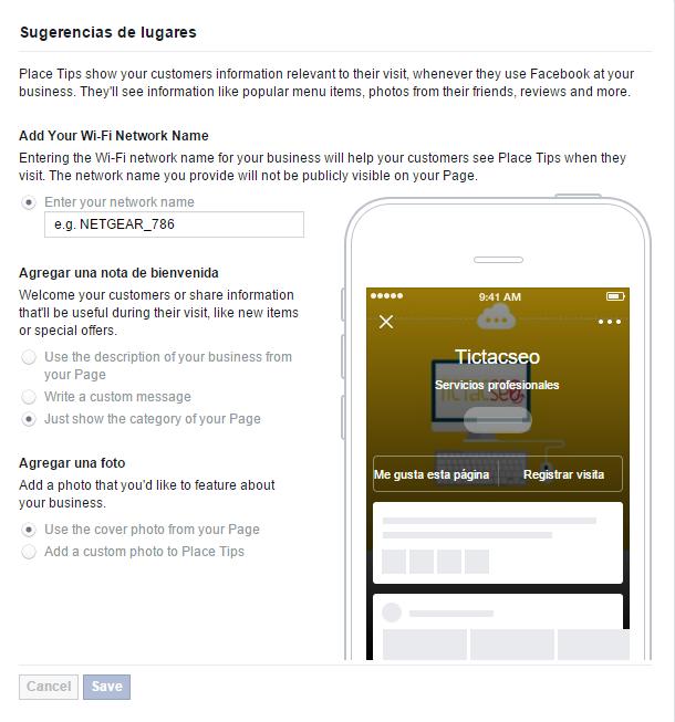 Facebook Place Tips configuración