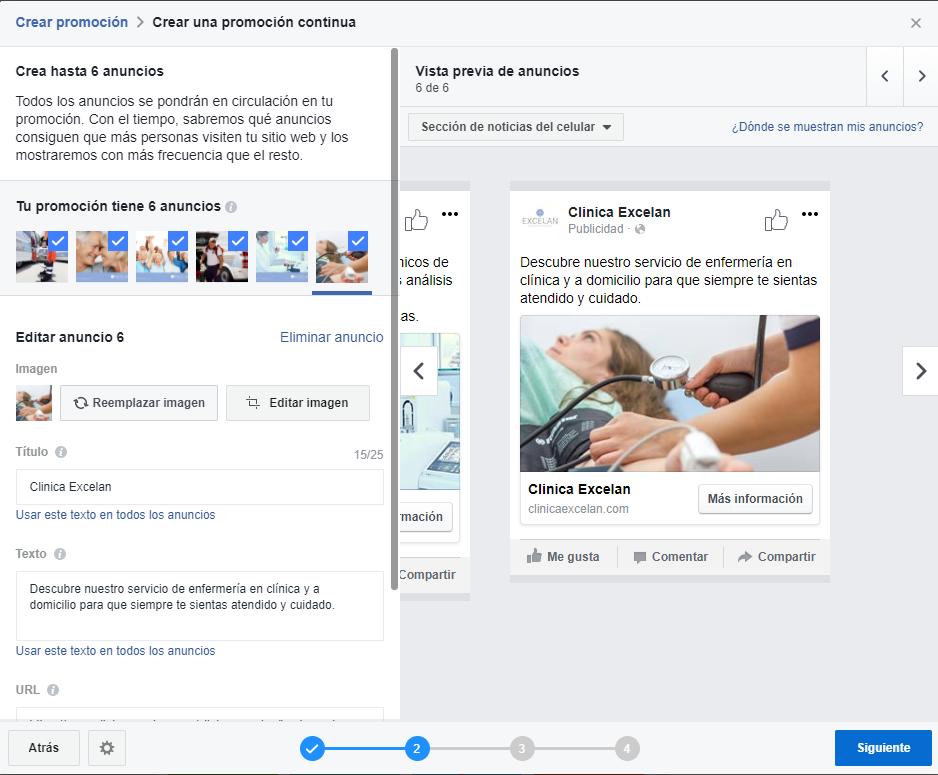crea hasta 6 anuncios con tu promocion continua en facebook